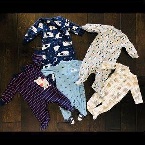 Baby Boy Footsie Sleepers 5 pack- 3M